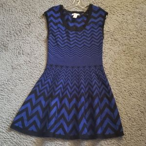 Black and blue chevron sweater dress